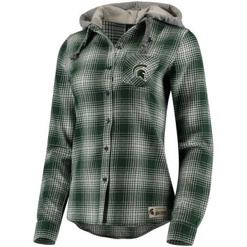 Juniors' Green Michigan State Spartans Dream Plaid Button-Front Hooded Shirt