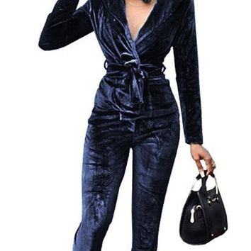 Pure Velvet DeepV Jumpsuit with Belt