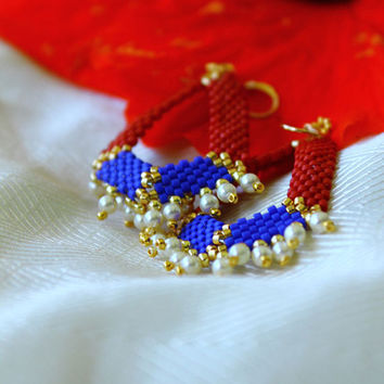 Fourth of July: Geometric Beaded Earrings w/ Pearls
