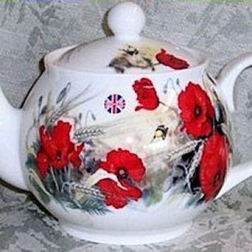 6C Poppy English Bone China Teapot