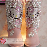 WINTER UGG Inspire Hello Kitty Wool Boots w shinning CRYSTALS and Pearl - ZoeCrystal