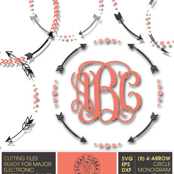 8 Tribal 4-Arrow Circle Monogram Frames - SVG, eps, DXF, PNG - Cut Files for Silhouette, Cricuit, other electronic cutting machines - cv-138