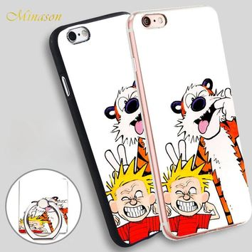 Minason Calvin and Hobbes Mobile Phone Shell Soft TPU Silicone Case Cover for iPhone X 8 5 SE 5S 6 6S 7 Plus