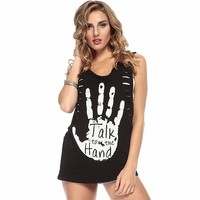 MapleClan Talk to The Hand Hollowed Sleeveless T-Shirt Loose Tank Top