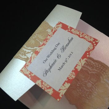 50 Pearlized Pocketfold with Lace & Orange by PaperDivaInvitations