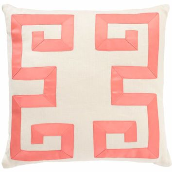Ivory and Coral Greek Key Decorative Pillow