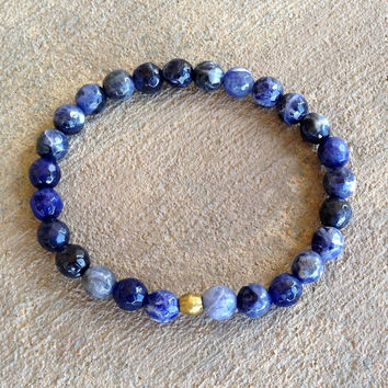 "Faceted Sodalite ""Peace"" Bracelet"