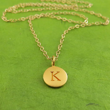 Gold Initial Charm Necklace, Personalized litte gold disc, round gold letter dot necklace, coin necklace