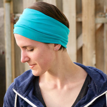 Wide Yoga Hair Wrap, Fitness Headband, Workout Head Wrap, Spandex Headband, Turquoise Blue/Green