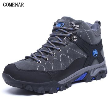GOMNEAR Winter Men's Hiking Boots Outdoor Climbing Toutism Hunting Athletic Boot Trend Trekking Warm Velvet Sport Shoes For Male