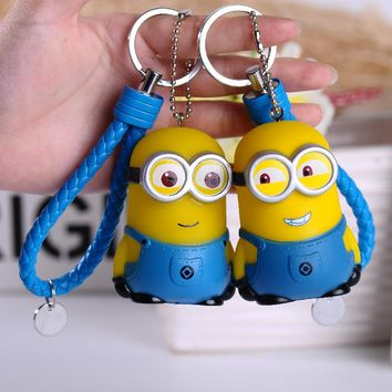 Cute Cartoon Anime Movie Minions Keychains Leather Rope Bells Keyrings Holder Kids Toy Key Ring Car Key Chains Pendant Trinkets