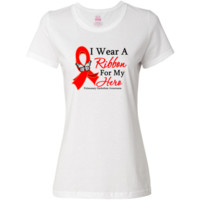 Pulmonary Embolism I Wear a Ribbon For My Hero Women's T-Shirt - White | Cancer Shirts | Disease Apparel | Awareness Ribbon Colors