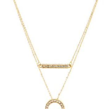 Gold Rhinestone Bar & Ring Layered Necklace by Charlotte Russe