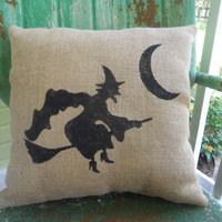 FLYING WITCH HALLOWEEN Spooky Fun Painted Burlap Throw Accent Pillow Custom Colors Home Decor