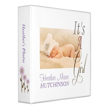 Modern White It's A Girl Personalized Photo Album 3 Ring Binder