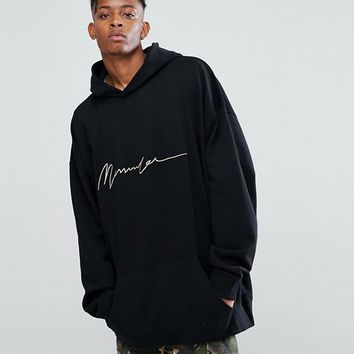 Mennace Zip Thru Hoodie With Drop Shoulder In Black at asos.com