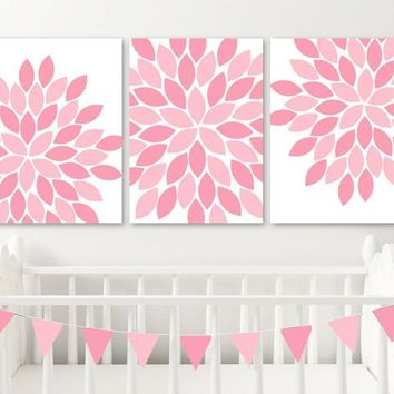 PINK Flower NURSERY Wall Art, Pink Flower CANVAS or Print, Pink Flower Baby Girl Nursery Wall Art, Girl Pink Bedroom Pictures Set of 3 Decor
