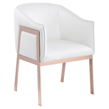 Rose Gold Accent Chair, White Leather, Accent & Occasional Chairs