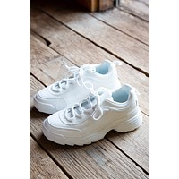 90's Baby Sneaky White Lace Up Sneaker, White