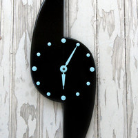 Vintage 50s 60s Retro Black Mid Century Wood Wall Clock Repurposed Redo Restored