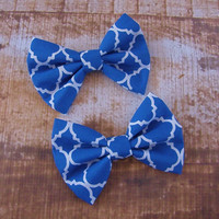 Royal Blue and White Quatrefoil Bow Clip Headband Hair Accessories Baby Toddler Adult