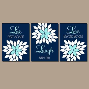 Live Laugh Love Decor, Navy Aqua Wall Art, CANVAS or Prints, Girl Nursery Decor, Bedroom Quote Pictures, Flower Burst Bathroom Set of 3