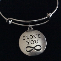 I Love You Infinity Silver Expandable Charm Bracelet Gift Trendy