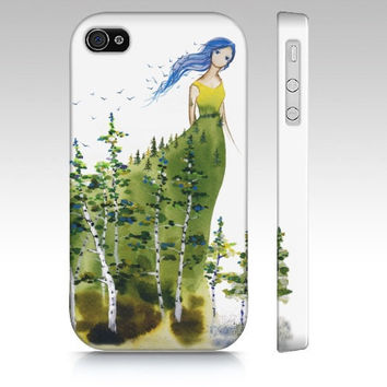 Lady Aspen - iPhone4 Case cellphone cover green forest spirit woman watercolor art painting phone hard-case lady painted pic Oladesign