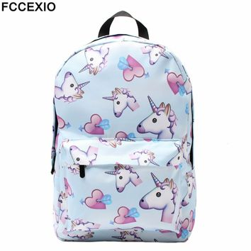FCCEXIO Blue Unicorn 3D Printing Backpack Women Bag Top Quality Bookbag School Bags for Teenage Girls Polyester Backpacks