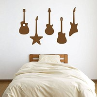 ik803 Wall Decal electric bass guitar star music song artist notes chords rock