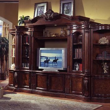 6 pc medium finish wood entertainment center wall unit with carved accents and burl design with bridge with crown carving