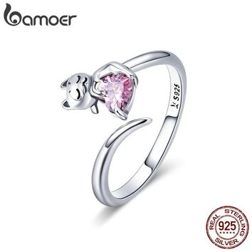 BAMOER Authentic 925 Sterling Silver Adorable Cat Pink CZ Adjustable Finger Rings for Women Sterling Silver Ring Jewelry SCR446