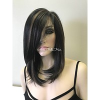 Off Black Blonde Straight Human Hair Blend Full Lace Wig -  Laya