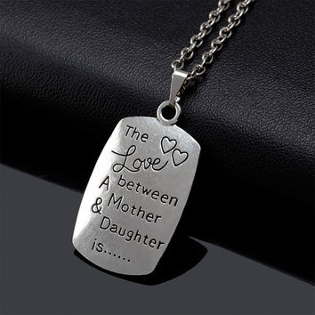 Vintage Engraved Mother and Daughter Silver Chain Necklace