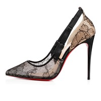Hot Jeanbi 100 Version Black Lace - Women Shoes - Christian Louboutin