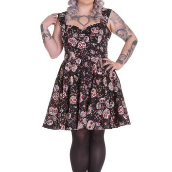 Plus Size Calavera Day of the Dead Flower Sugar Skull Black Party Dress