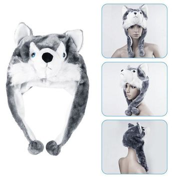 ESBU3C 1pcs handmade Animal style Soft Cartoon Wolf Cute Fluffy Plush kids Hat Cap