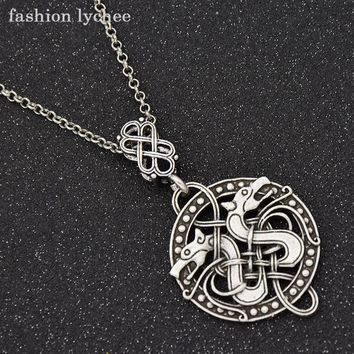 fashion lychee Retro Design Viking Knot Two Dragons Odin Pendant Necklace Mens Long Metal Link Chain Fashion Jewelry