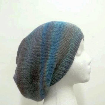 Knitted colorful slouch hat handmade 5323