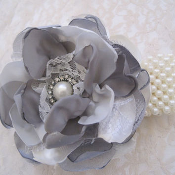 Grey Romantic Rose Pearl Wrist Corsage Cuff Bracelet Bridesmaid Mother of the Bride Prom with Pearl Rhinestone Accents CUSTOM ORDER