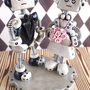 Gothic Grungy Unique Robot Wedding Cake Topper READY TO SHIP Clay Wire Paint