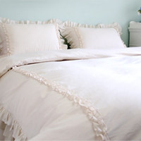 Natural Off-White Colored Frill Decorated Twin / Queen Size Bedding Set