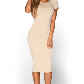 Elise Nude Short Sleeve Bodycon T Shirt Midi Dress
