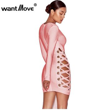 Wantmove Metal Eyelet Sexy Women Double Lace-Up Dress 2017 Summer fashion Vestidos Sexy Club Party Mini Dress White Pink XD924