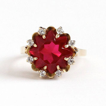 Sale - Vintage 10k Rosy Yellow Gold Created Ruby & Spinel Halo Ring - Retro 1950s Size 7 3/4 Red White Fancy Cut Fine Statement Star Jewelry