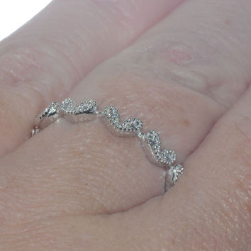 Sterling Silver Cubic Zirconia Heart Band 3mm Wide CZ Ring