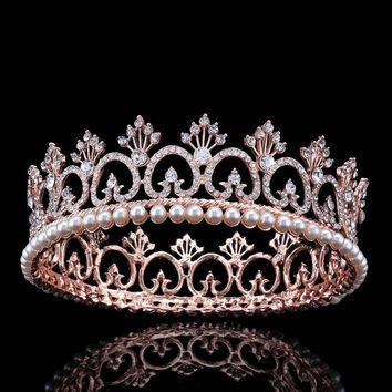 Big Princess Queen Bridal Crown Tiara Rose Gold Crystal Pearl Large Round Cosplay