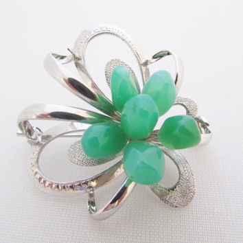 Silver Jade Pin Flower Brooch Jadeite Nuggets Gifts for Women Vintage Jade Brooch Silver Jewelry