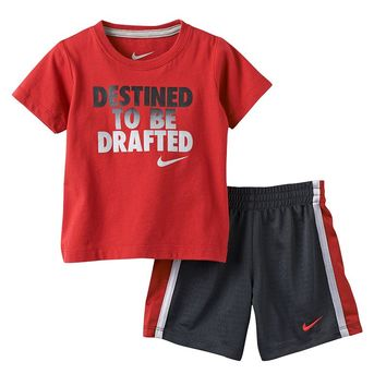 Nike ''Destined To Be Drafted'' Tee & Shorts Set - Baby Boy, Size: