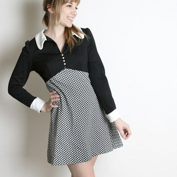 Wednesday Addams Dress Vintage Black White Checkered Mini by zwzzy